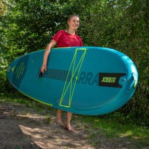 Jobe Yarra Teal Stand Up Paddling Board Paket mit Rucksack, Paddel, Pumpe und Leash