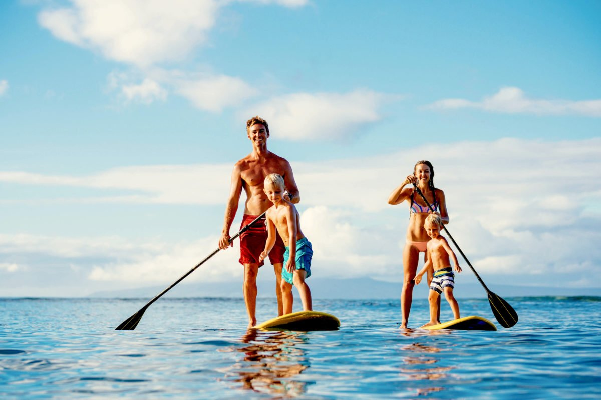 Sup Familie Stand up Paddling ist